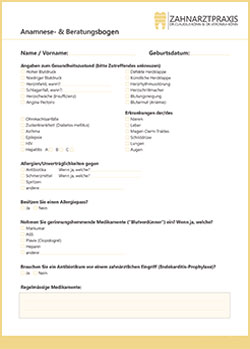 Anamnesebogen - Zahnarztpraxis in Willich Schiefbahn