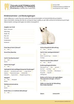 Kinderanamnesebogen - Zahnarztpraxis in Willich Schiefbahn